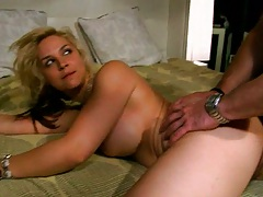 Blowjob from a hot blonde big tits babe Sarah Vanedella