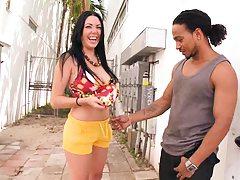 Cute babe Megan Foxx touches cock in public