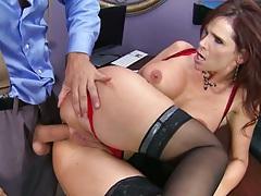 Sideways milf anal fuck on the desk with big tits redhead Syren De Mer