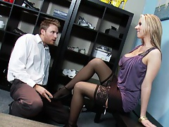 Shoes sales man helps Carolyn find her right size