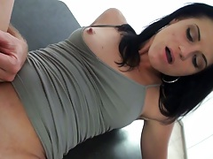 Whore next door gets fucked with her nipples showing through her shirt and no panties Aubrey Sky