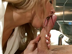Sexy doctor sucking and titty fucking
