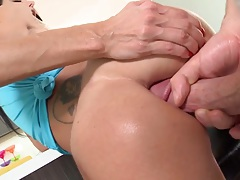 Anal standing fuck cock popping into big tits milf anus Ava Addams