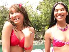 Two teens with perky tits in their first time video