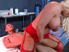 Reverse cowgirl milf in red lingerie topless sitting on dick Alura Jenson