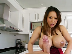 Big tits asian Tiger Benson pov titty fuck and blowjob followed by ass licking rimjob