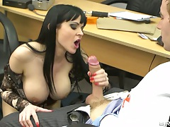 Brunette Anastasia Brill sucking and titty fucking big dick on table
