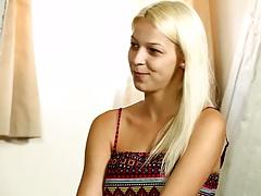 Blonde teen Karol C talks about her sexual preferance