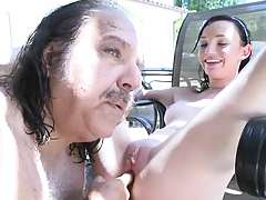 Jenny Anderson spreads her shaved pussy for old dude