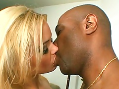 Blonde Alicia Rhodes gets fingered in interracial fuck