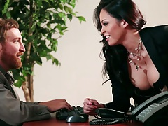 Big tits office asian babe Mia Lelani approaches male