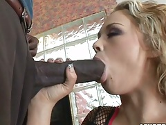 Interracial huge cock sucking with Katie Kox and sits on cock