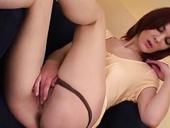 Hot redhead milf pulls up her panties and masturbates