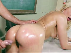 Doggy style oil fuck with Anikka Albrite on the desk
