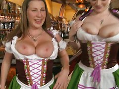 Big natural tits bar girls from Germany flashing their big boobs