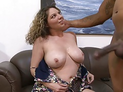 Big tits interracial Kiki Daire spreading her hairy pussy for fingers and sucking