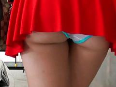 Latina upskirt view and spanking