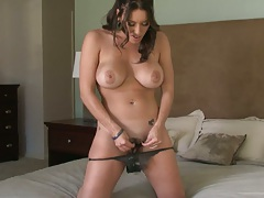 Big tits Megan Jones solo masturbation and sucking ribbed dildo