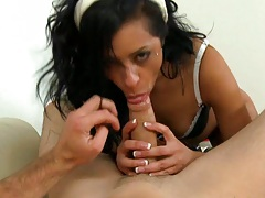 Sexy 18 year old latina sucks dick and sits on cock
