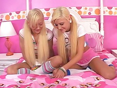 Blonde girl lesbians in cute pink outfits with Lil Lexy