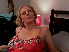 Home milf Julia posing in sexy red lingerie