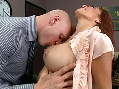Big tits at work with Monique in the office