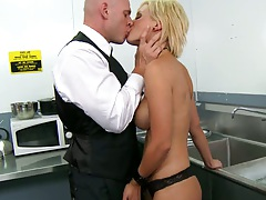 Big tits Lexi sucking the waiter