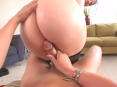 Reverse cowgirl big ass sex with some oil with Caroline Pierce