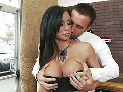 Milf with big tits Jewels stripping at the store
