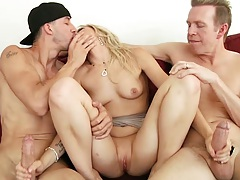 Zoey Monroe giving two handjobs at once in threesome with dp to follow