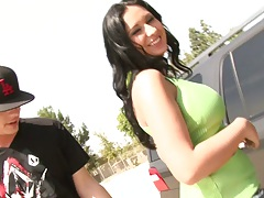 Big tits Bella Blaze in the parking lot