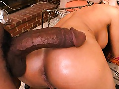 Nika Noir doggy style penetrated by a massive rod