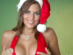 Hot as hell santas sexy heper Nicole Graves shows pussy and fingers