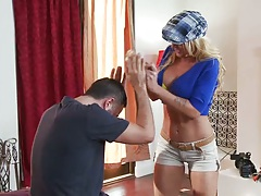 Big tits Leya Falcon puts oil all over big tits and sucks some dick