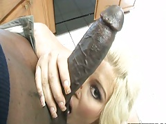 Big black cock fucking a hungry blonde mom milf Julie Cash in the mouth