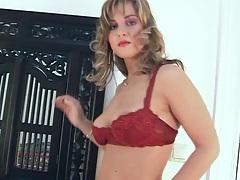 All natural tits Silvie Thomas with nice medium sized boobs gets naked