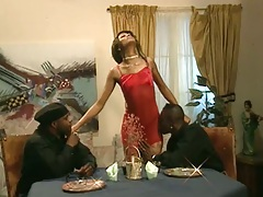 Threesome with ebony girl and two guys at dinner