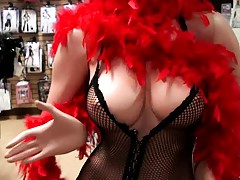 Latina Sophya entering an adult store