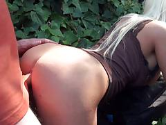 Close up doggy style fuck with Jacky Joy in public outdoors