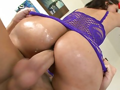 Great cowgirl ass fucking Reena Sky in oil and fingering anus