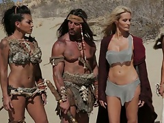 Outdoor group with cavemen Adrianna Luna and Cameron Dee