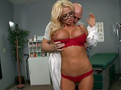 Big tits doctor Nikita Von James goes down on patient to improve his vision