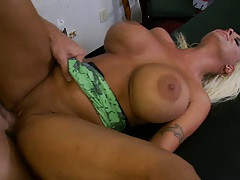 Big tits milf on the table peeling ass cheeks open