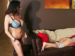 Horny lesbian babes making out