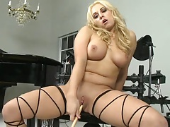 Long candle going up a hot babes pussy