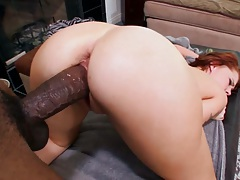 Big black cock for redhead Frankie Vargas from behind penetration