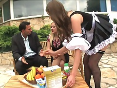 Sexy maid Jenny Noel and Lea Lexus outdoor dinner party