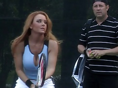 Outdoor tennis practice with Janet Mason getting fingered after