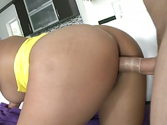 Doggy style fucking big ass latina Reina and she sits on dick