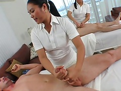 Marquetta Jewel and Ashley Marie handjob and ejaculation after massage